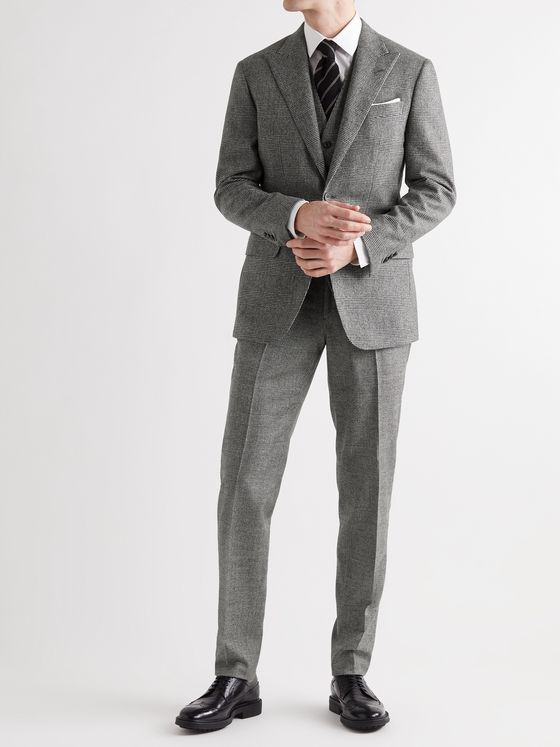 THOM SWEENEY Slim-Fit Prince of Wales Checked Cotton and Wool-Blend Suit Trousers