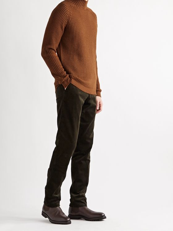 THOM SWEENEY Ribbed Merino Wool Mock-Neck Sweater