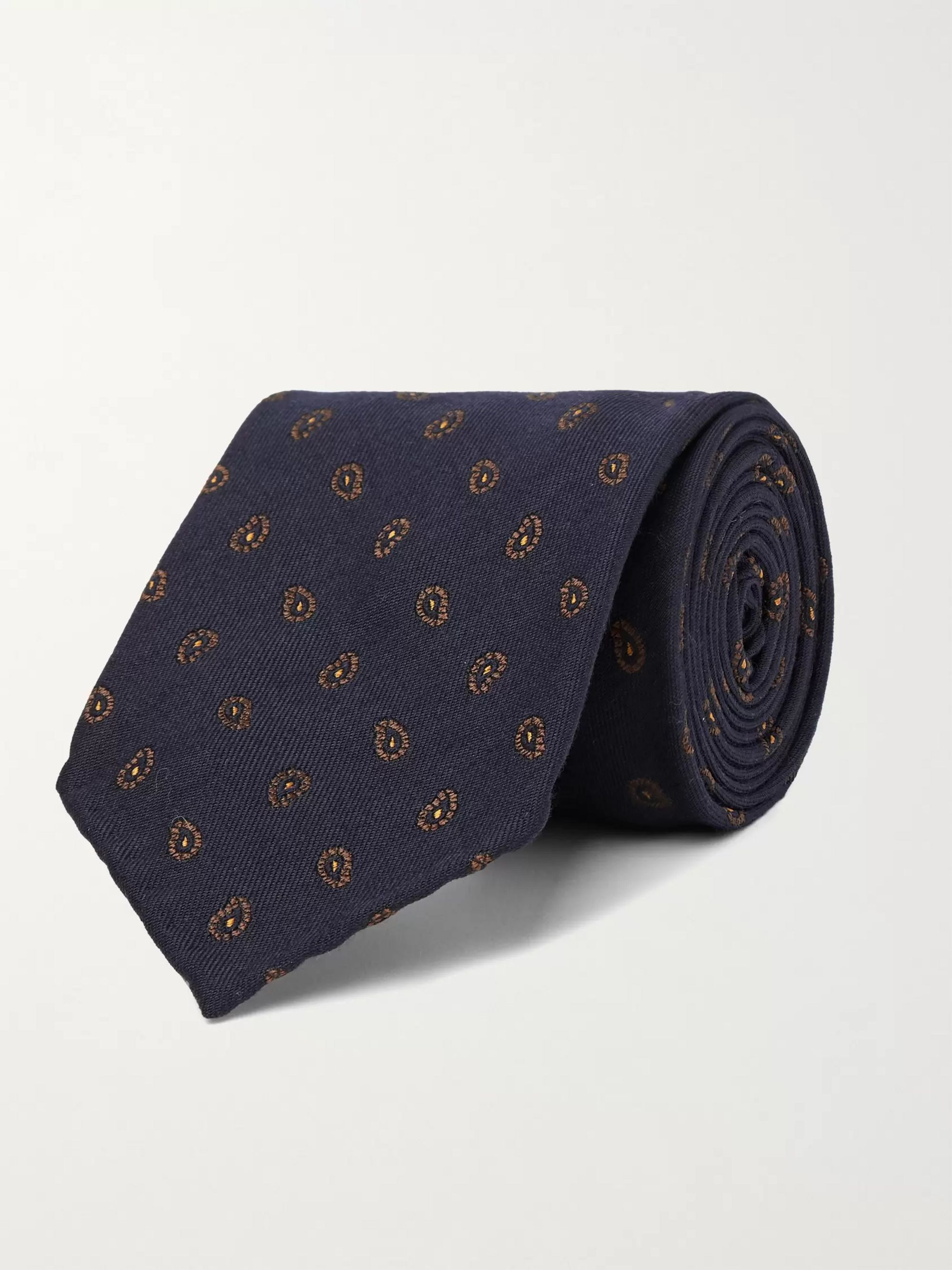 THOM SWEENEY 7.5cm Paisley-Print Virgin Wool and Silk-Blend Tie,Navy