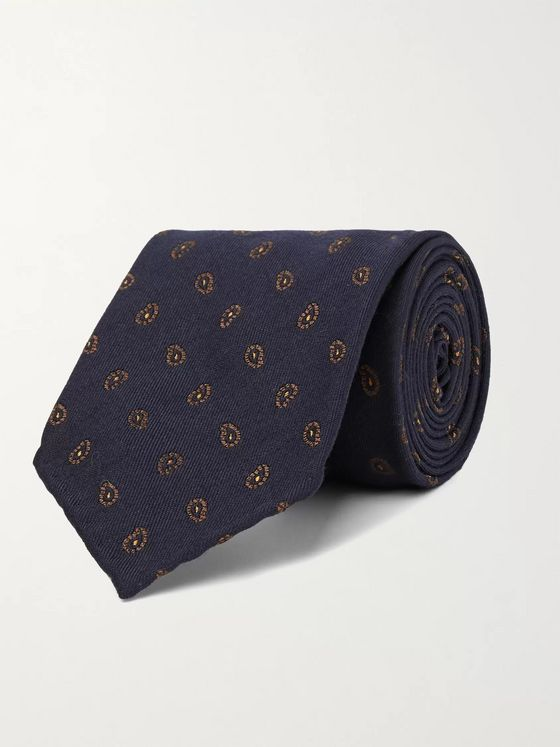 THOM SWEENEY 7.5cm Paisley-Print Virgin Wool and Silk-Blend Tie