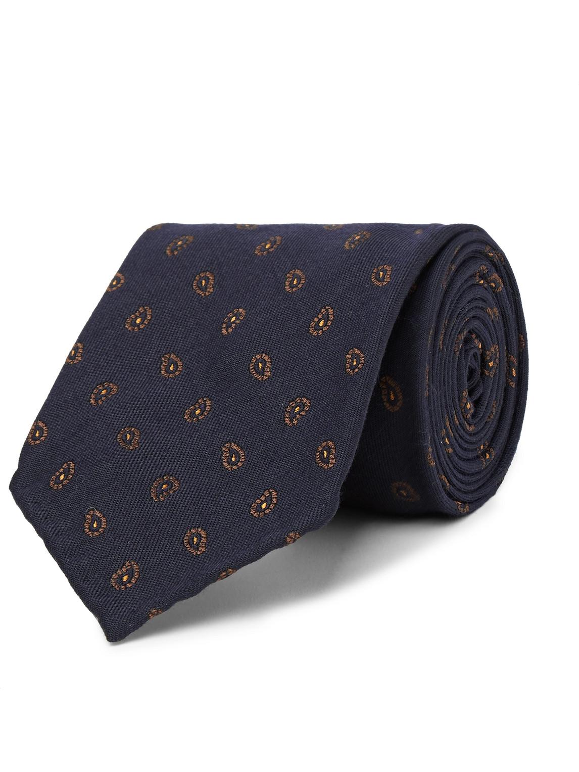 thom sweeney - 7.5cm paisley-print virgin wool and silk-blend tie - men - blue