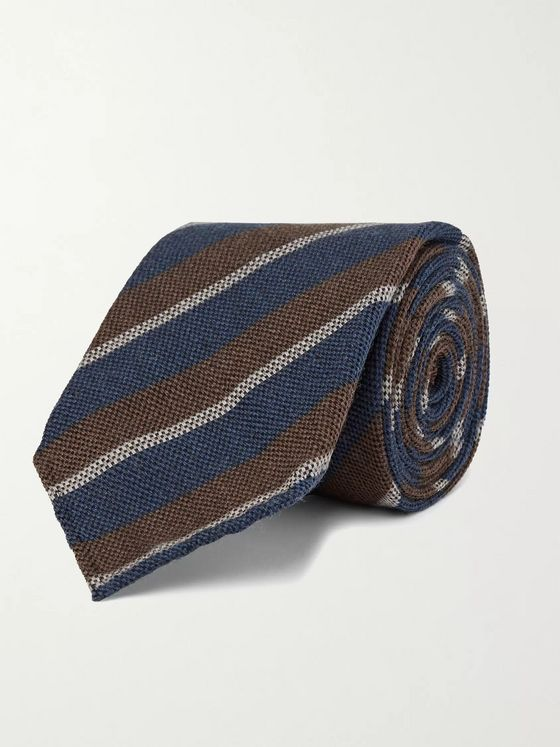 THOM SWEENEY 7.5cm Striped Wool and Silk-Blend Tie
