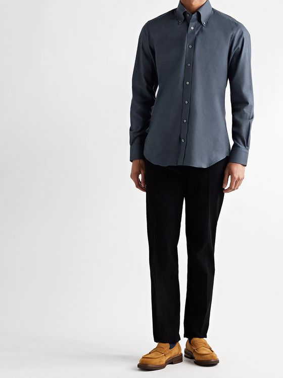 THOM SWEENEY Slim-Fit Button-Down Collar Cotton-Flannel Shirt