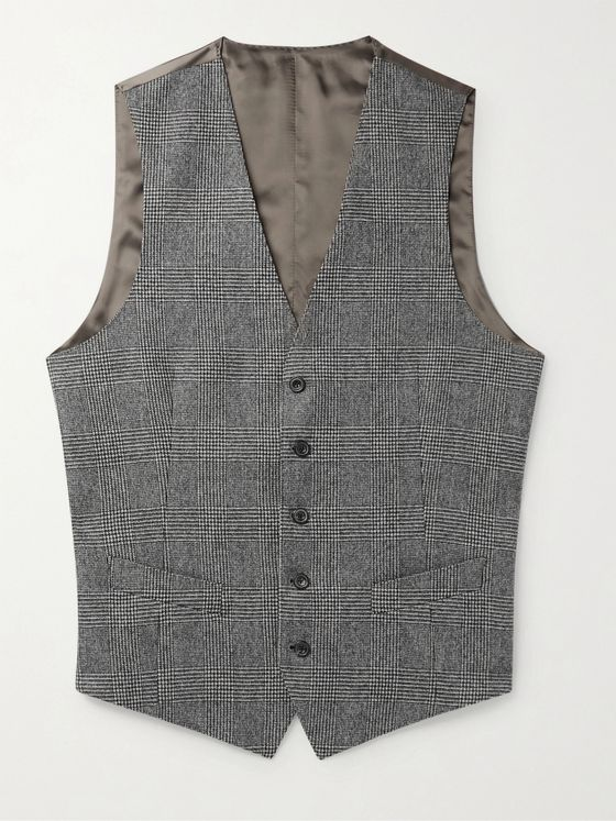 THOM SWEENEY Slim-Fit Prince of Wales Checked Wool and Satin Waistcoat