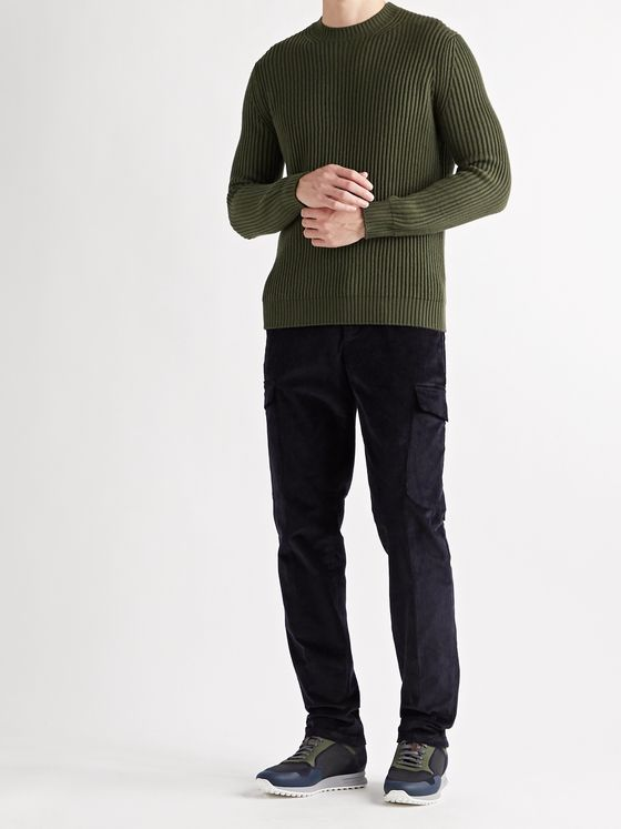 THOM SWEENEY Slim-Fit Tapered Stretch-Cotton Corduroy Cargo Trousers