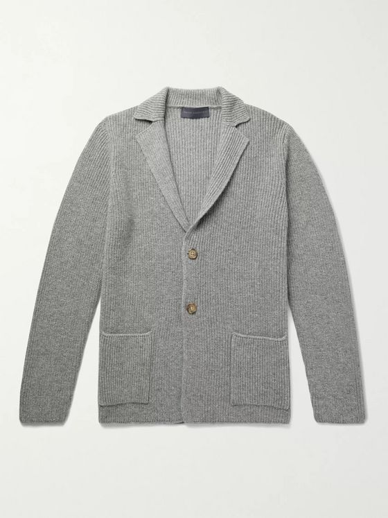 THOM SWEENEY Slim-Fit Ribbed Mélange Cashmere Cardigan