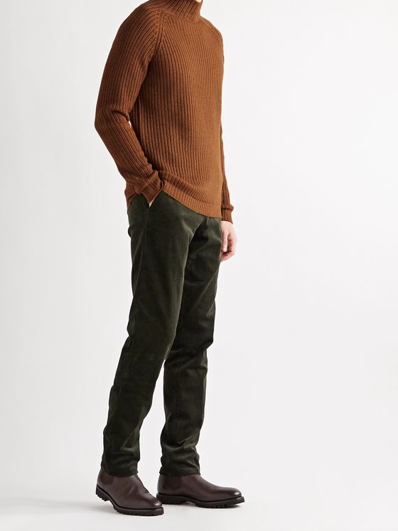 THOM SWEENEY Slim-Fit Tapered Stretch-Cotton Corduroy Trousers