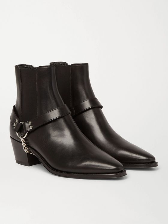 CELINE HOMME Chain-Embellished Leather Chelsea Boots