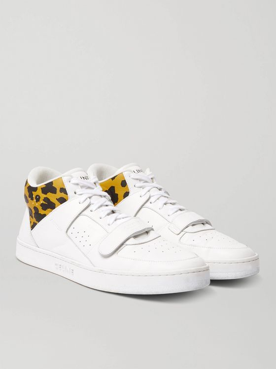 CELINE HOMME Leopard Print-Trimmed Leather Sneakers