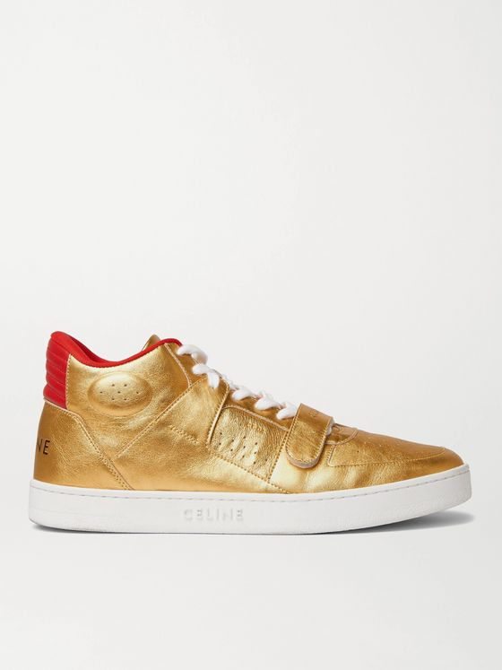 CELINE HOMME CT-02 Metallic Leather Sneakers