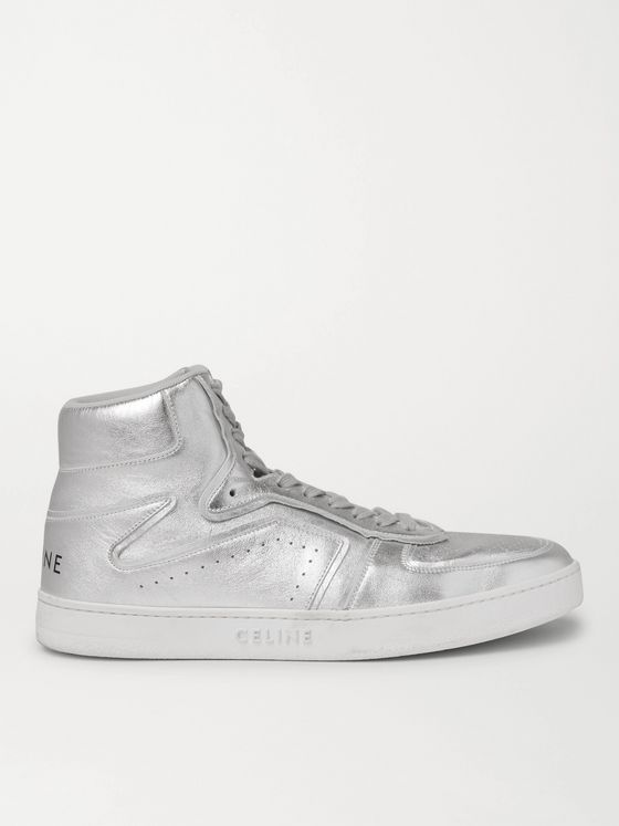 CELINE HOMME Z CT-01 Metallic Leather High-Top Sneakers