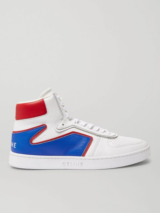 CELINE HOMME Z Leather High-Top Sneakers