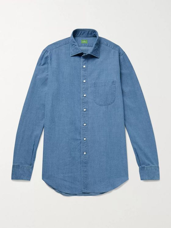 Sid Mashburn Textured Cotton-Chambray Shirt