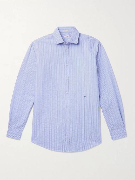 Massimo Alba Canary Embroidered Striped Cotton-Poplin Jacquard Shirt