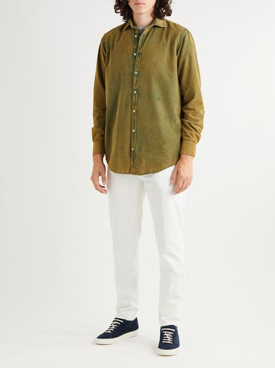 MASSIMO ALBA Canary Acid-Washed Cotton-Corduroy Shirt