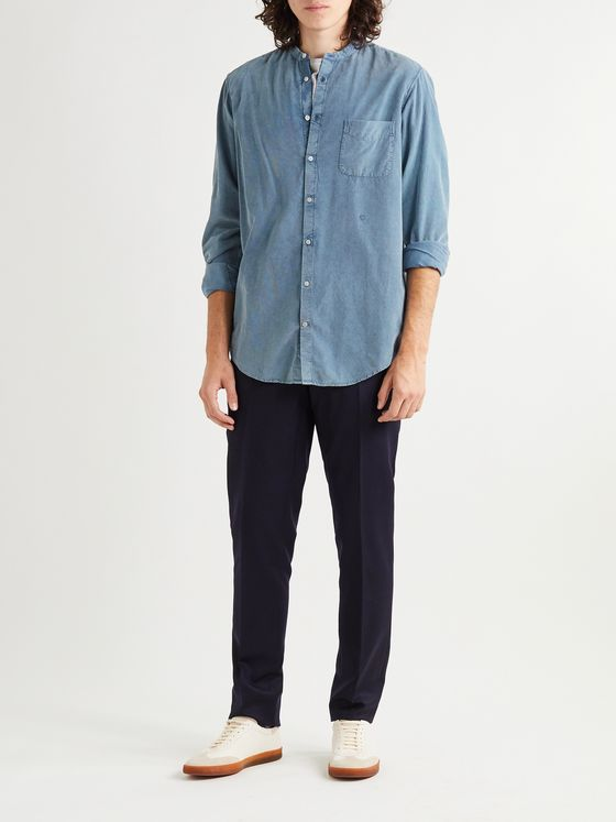 MASSIMO ALBA NOTO2 Mandarin-Collar Embroidered Cotton-Corduroy Shirt
