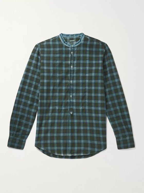 Massimo Alba Kos Checked Cotton-Twill Half-Placket Shirt