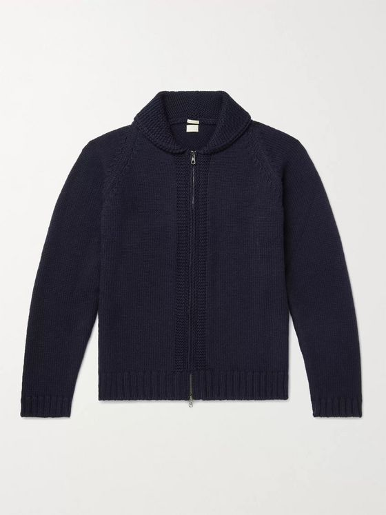 MASSIMO ALBA Ian Shawl-Collar Wool Zip-Up Cardigan