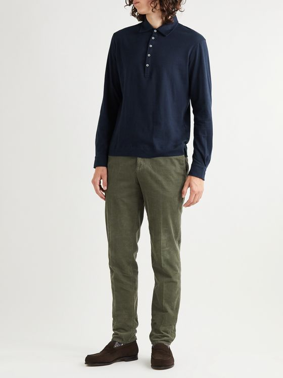 Massimo Alba Ischia Cotton and Cashmere-Blend Polo Shirt