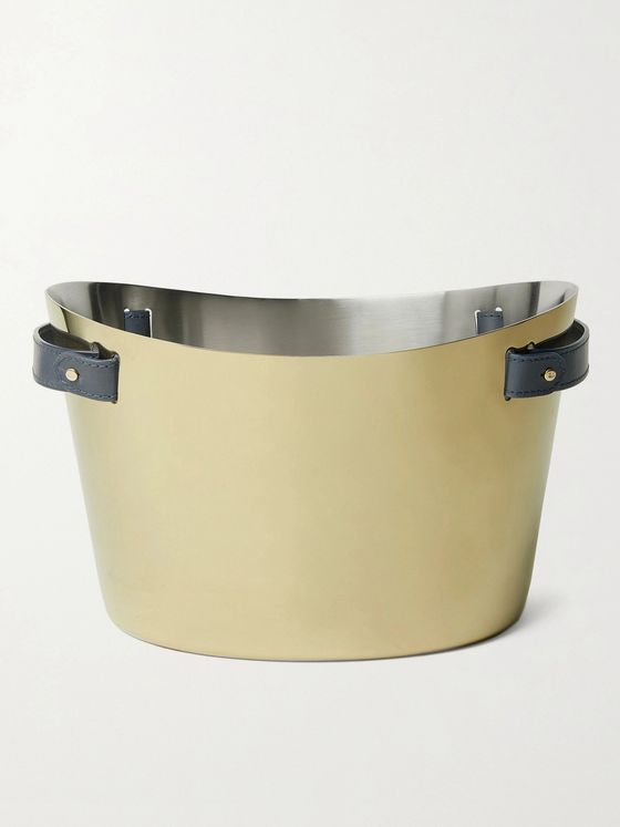 Ralph Lauren Home Wyatt Gold-Tone and Leather Champagne Bucket