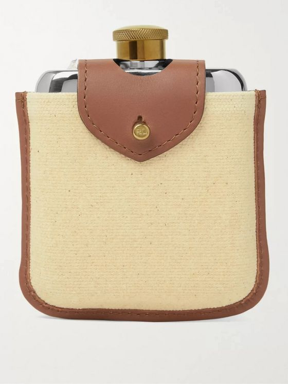 Ralph Lauren Home Garret Leather, Canvas, Stainless Steel and Brass Hip Flask Set