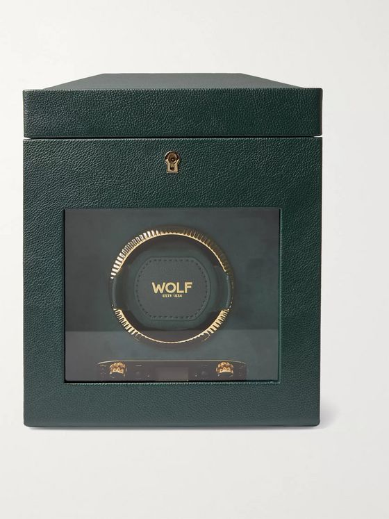 WOLF British Racing Pebble-Grain Vegan Leather Watch Winder