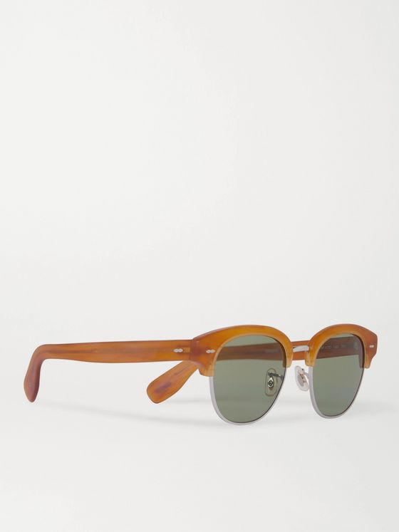 OLIVER PEOPLES Cary Grant 2 Sun Round-Frame Acetate and Silver-Tone Sunglasses