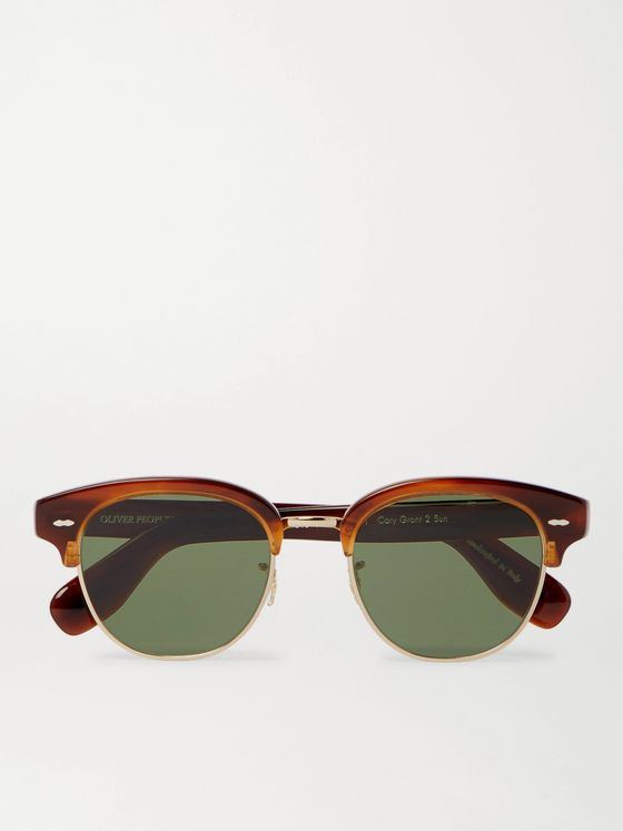 OLIVER PEOPLES Cary Grant 2 Sun Round-Frame Acetate and Gold-Tone Sunglasses