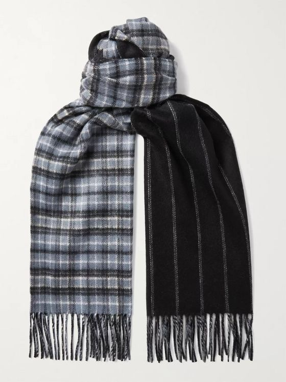 Johnstons of Elgin Reversible Fringed Checked and Striped Cashmere Scarf