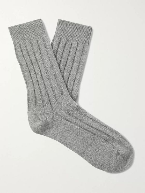 Johnstons of Elgin Ribbed Mélange Cashmere Socks