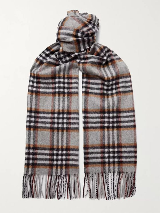 Johnstons of Elgin Fringed Prince of Wales Checked Cashmere Scarf