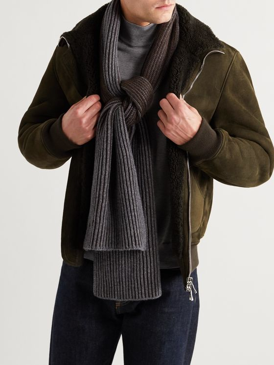 Johnstons of Elgin Two-Tone Ribbed Cashmere Scarf