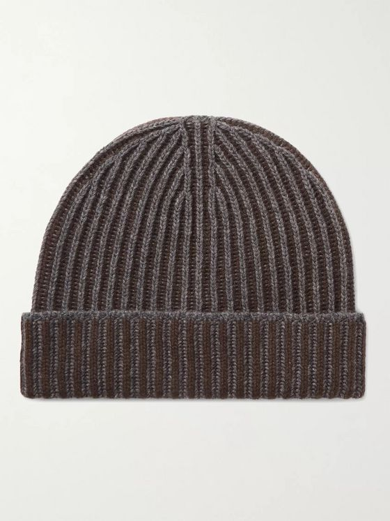 Johnstons of Elgin Two-Tone Ribbed Cashmere Beanie