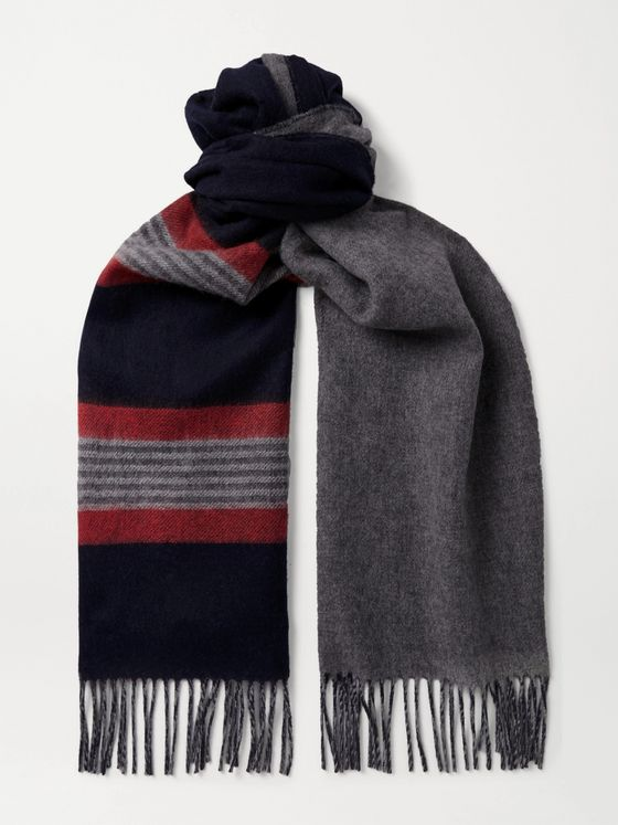 Johnstons of Elgin Reversible Fringed Cashmere and Merino Wool-Blend Scarf