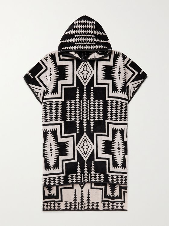 Pendleton Harding Black Hooded Cotton-Terry Jacquard Towel