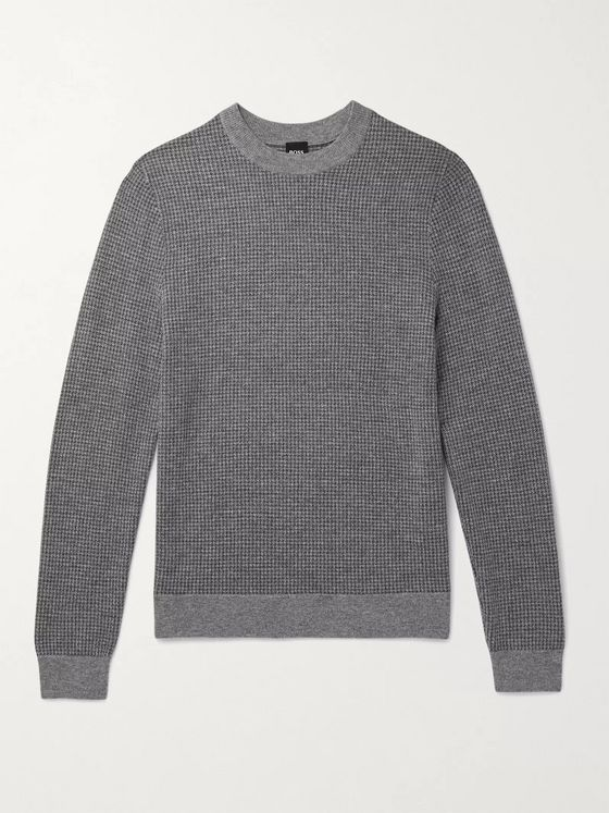 Hugo Boss Maddeo Slim-Fit Houndstooth Virgin Wool Sweater