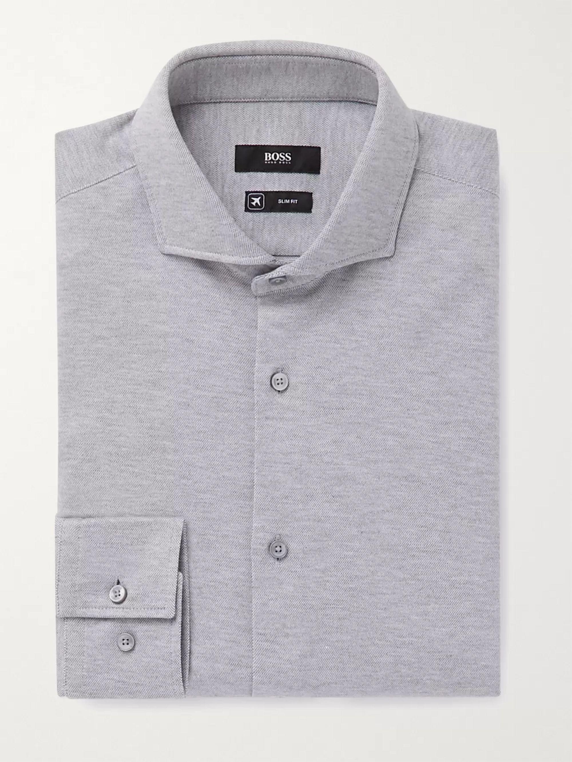 HUGO BOSS Jason Slim-Fit Cutaway-Collar Melange Cotton-Jersey Shirt