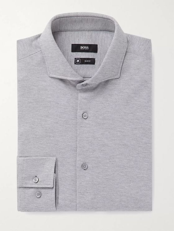 Hugo Boss Jason Slim-Fit Cutaway-Collar Mélange Cotton-Jersey Shirt