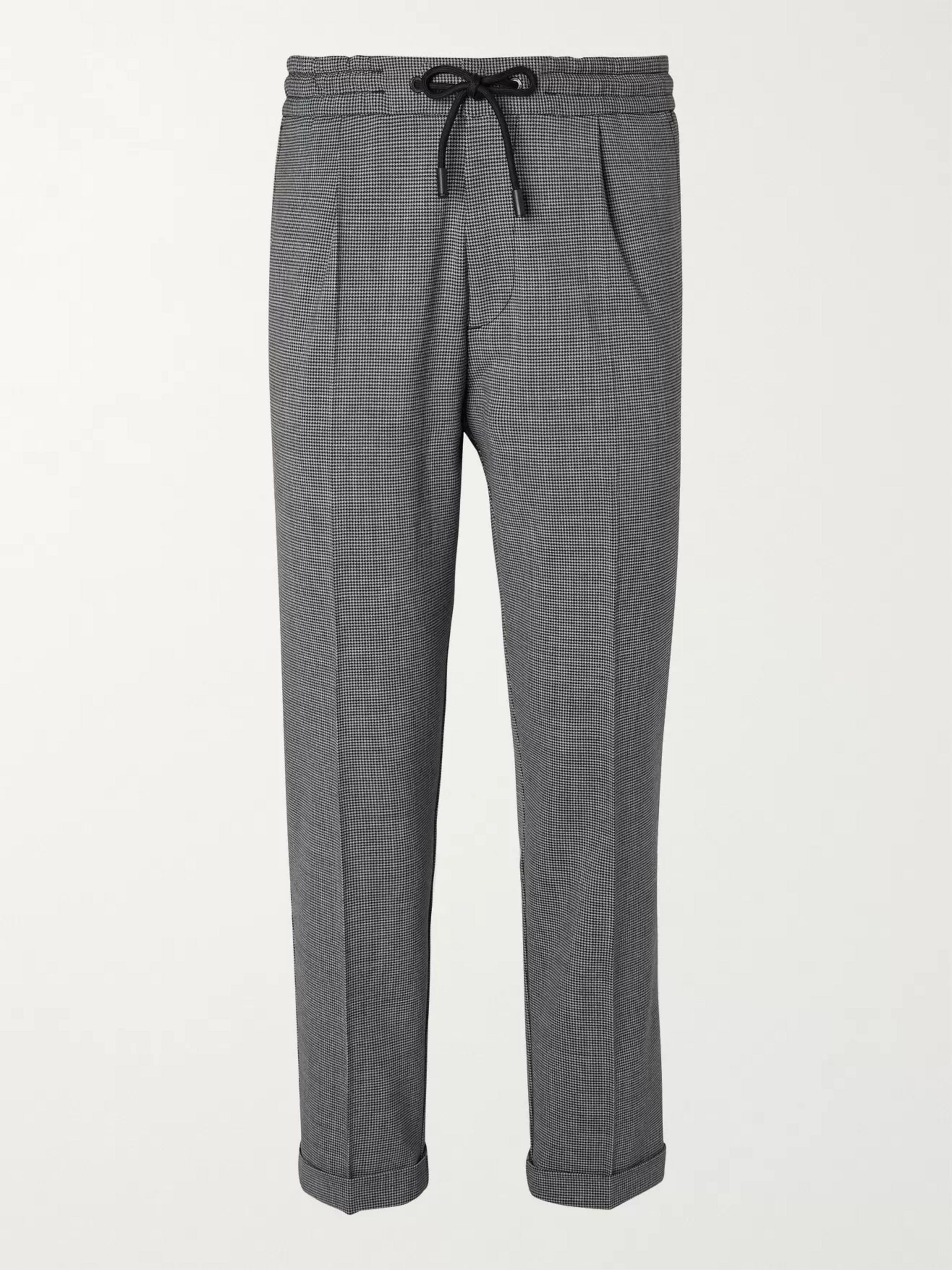 HUGO BOSS Kirio Slim-Fit Tapered Pleated Houndstooth Woven Drawstring Trousers