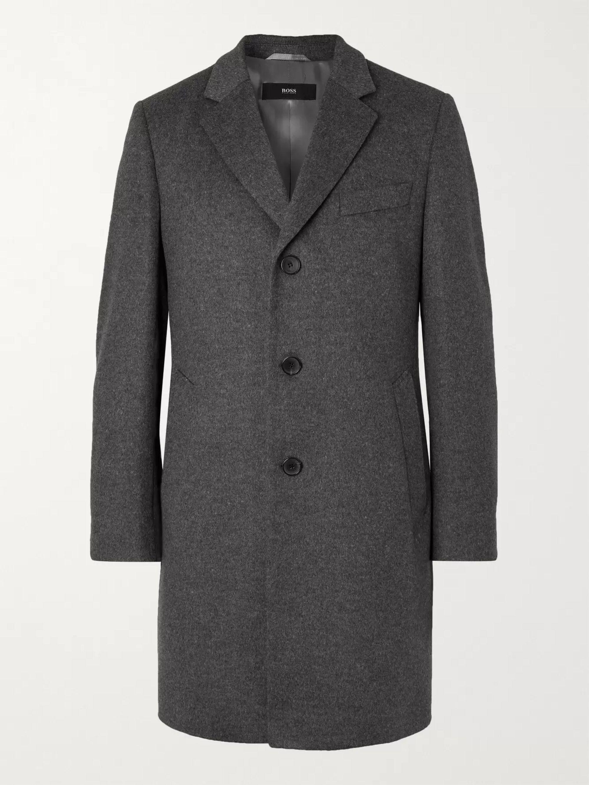 HUGO BOSS Slim-Fit Virgin Wool and Cashmere-Blend Overcoat