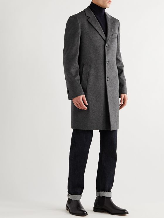 HUGO BOSS Slim-Fit Virgin Wool and Cashmere-Blend Overcoat