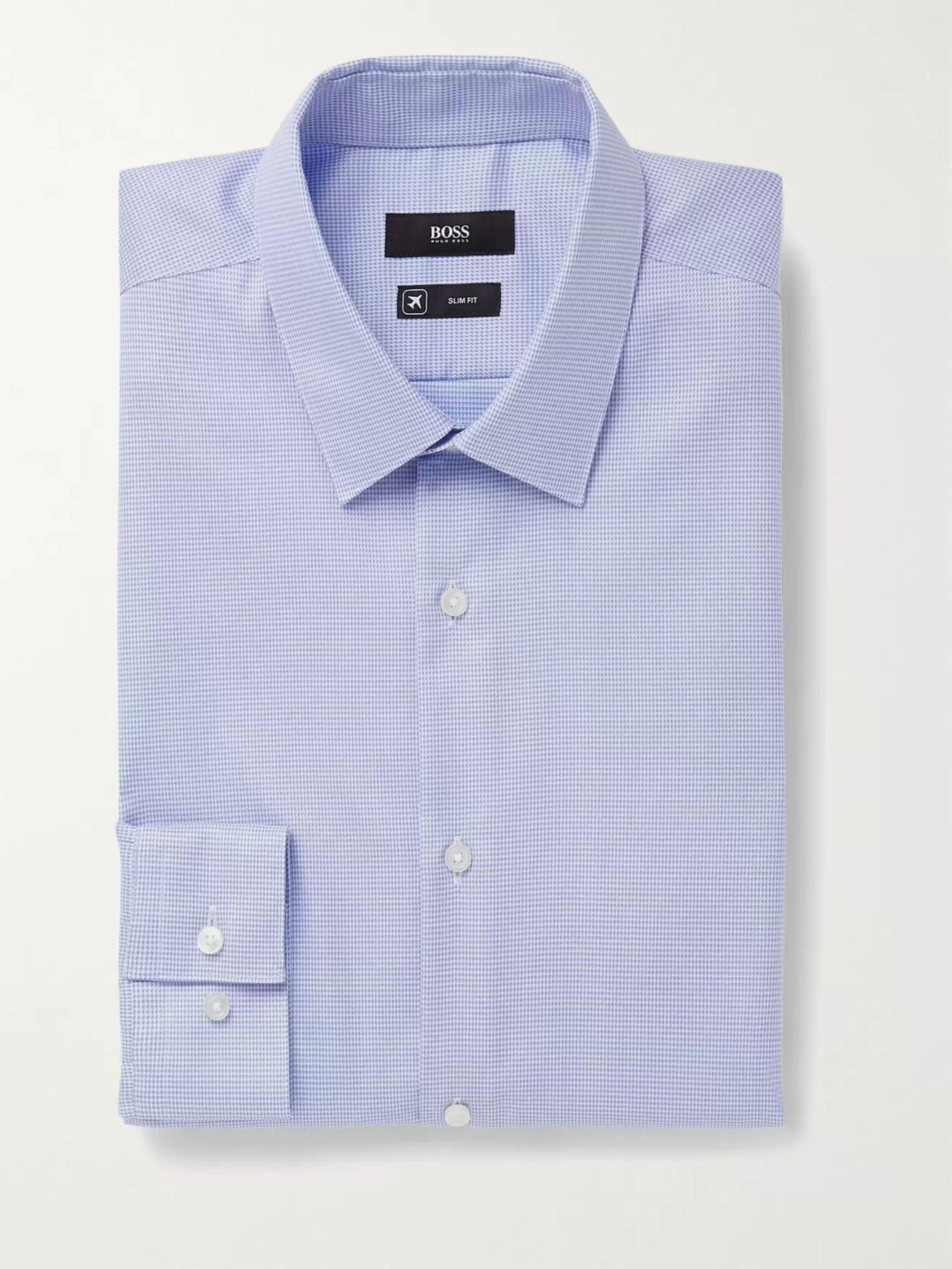 HUGO BOSS Isko Slim-Fit Houndstooth Cotton Shirt