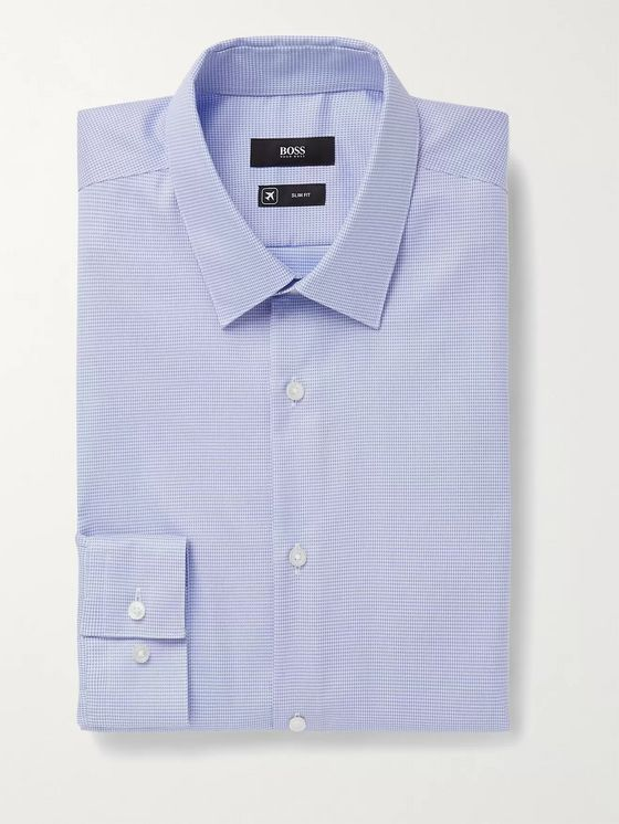 HUGO BOSS Isko Slim-Fit Houndstooth Cotton Shirt