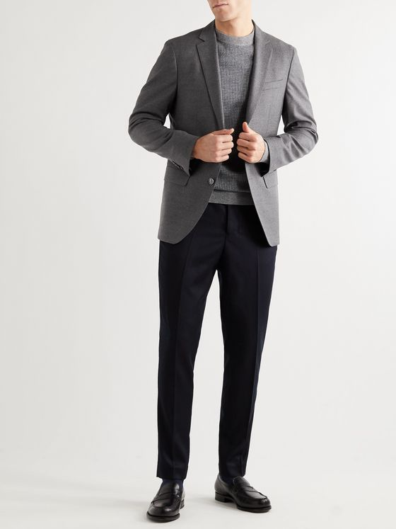 Hugo Boss Hartley Slim-Fit Unstructured Stretch-Virgin Wool Flannel Suit Jacket