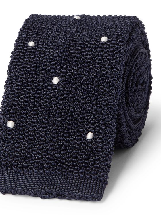 Husbands 6cm Polka-Dot Knitted Silk Tie