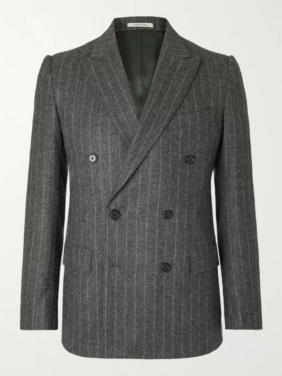 Husbands Jagger Slim-Fit Double-Breasted Pinstriped Wool Suit Jacket