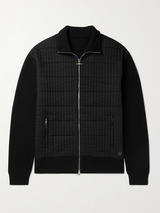 DUNHILL Ribbed Wool and Quilted Shell Jacket