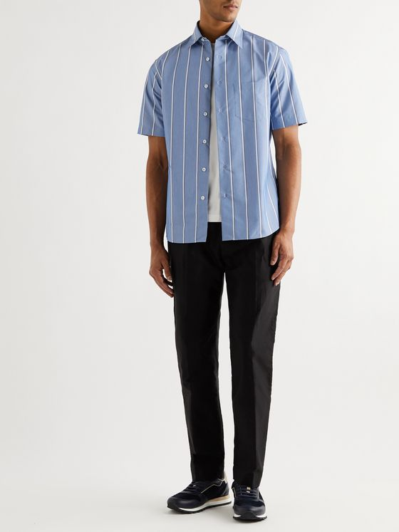 DUNHILL Striped Cotton-Blend Chambray Shirt