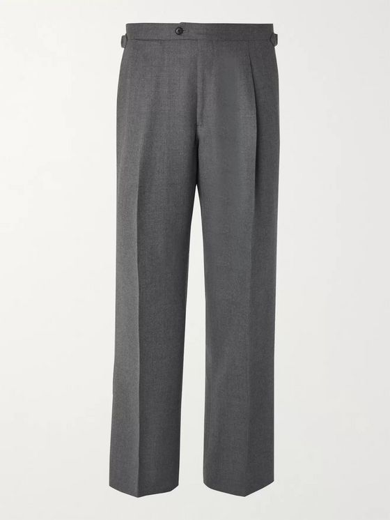 SAMAN AMEL Wide-Leg Wool and Cashmere-Blend Trousers