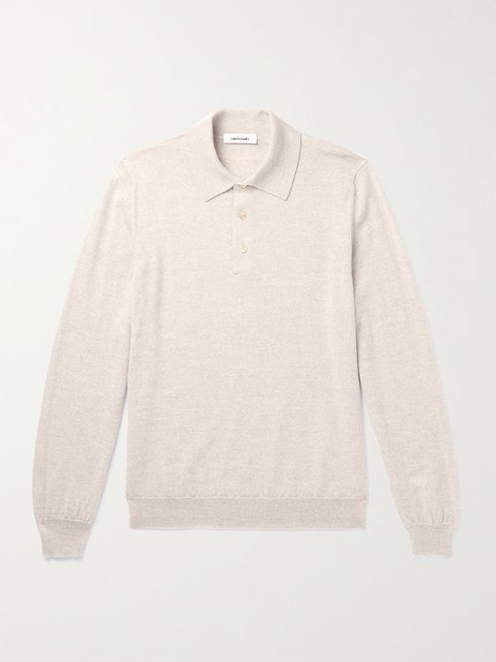 SAMAN AMEL Knitted Merino Wool Polo Shirt